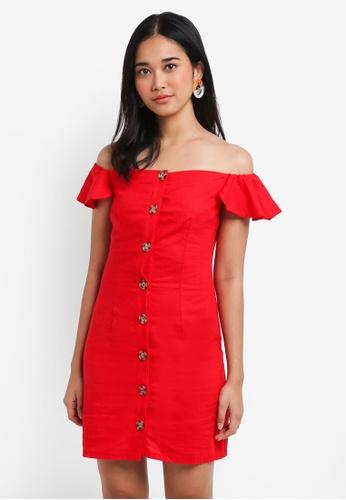 Miss Selfridge red Red Button Bardot Dress 1E31AAAC29EB1AGS_1