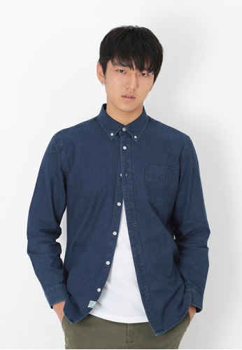 A for Arcade blue Chambray Button Down Shirt in Dark Wash B31F5AAA3441C2GS_1