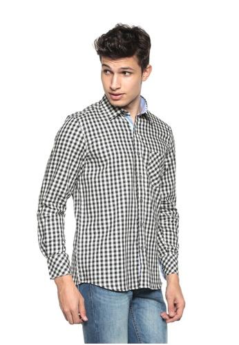 POLO HAUS multi Polo Haus - Woven Long Sleeve Shirt (Black White) PO783AA69PPIMY_1