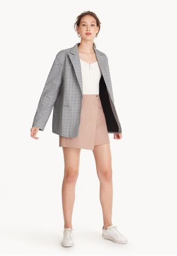 Pomelo pink Foldover Elastic Mini Skirt - Pink 4486AAAEB992D9GS_1