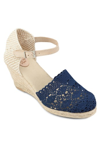 Agavi 蕾絲圓頭麻編楔esprit 澳門形涼鞋, 女鞋, 鞋