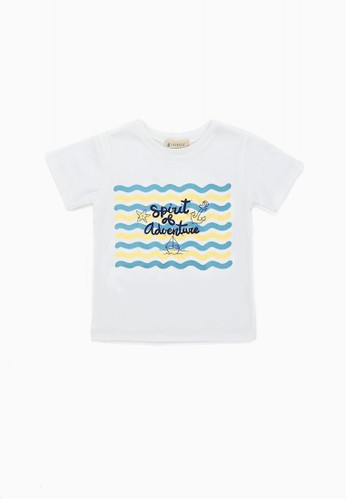 Savvaya white and green and blue Savvaya Short Sleeve Text Tshirt 4B6B5KA082D2FBGS_1