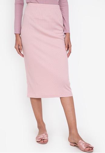 ZALORA BASICS pink Midi Ribbed High Waist Skirt C9977AAD5C1A77GS_1