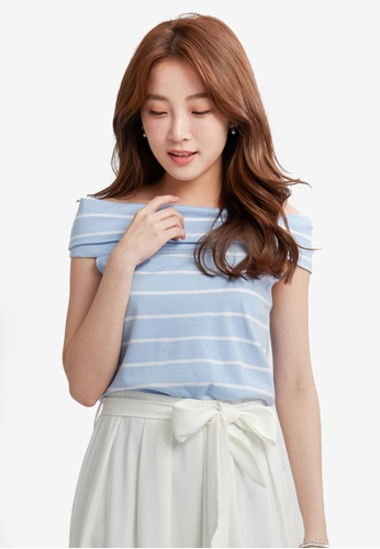 Yoco blue Striped Off-Shoulder Top E51A0AAA7C173CGS_1