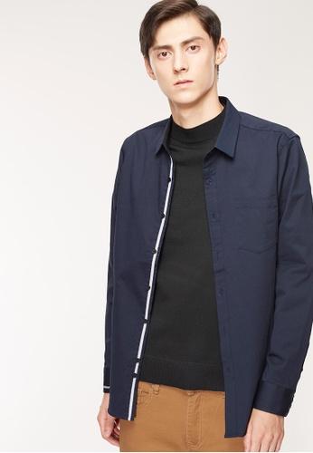 Life8 藍色 Formal 彈力斜紋 刺繡設計 長袖襯衫-11175-丈青 F2F50AADF30CBFGS_1