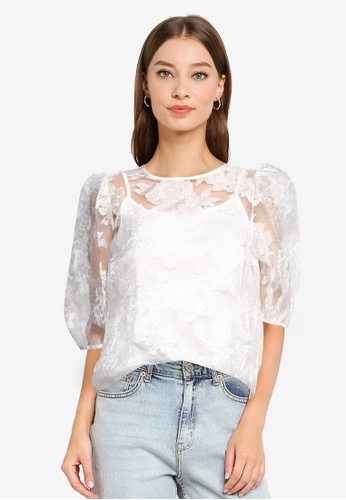 Dorothy Perkins white Ivory Floral Organza T-Shirt F86DFAA06891A8GS_1