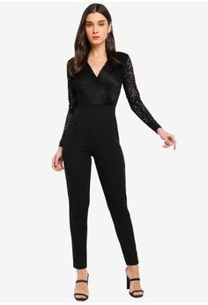 18116ff21b6 WALG black Long Sleeve Lace Jumpsuit 7B3E7AA78902BCGS 1