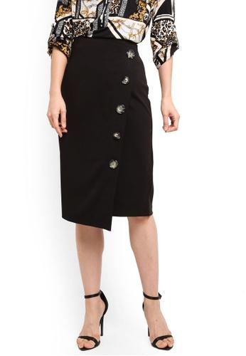 949e6296d10 Buy Wallis Black Asymmetric Button Pencil Skirt Online on ZALORA ...