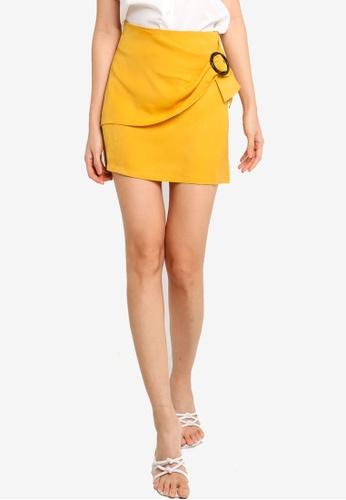 ZALORA BASICS yellow Buckle Detail Skirt 1C60FAAEB11D3FGS_1