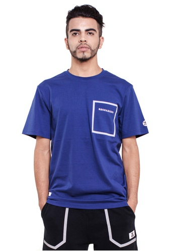 Reoparudo navy RPD Reflective Print Pocket Tee (Navy Blue) RE413AA0FJYCSG_1