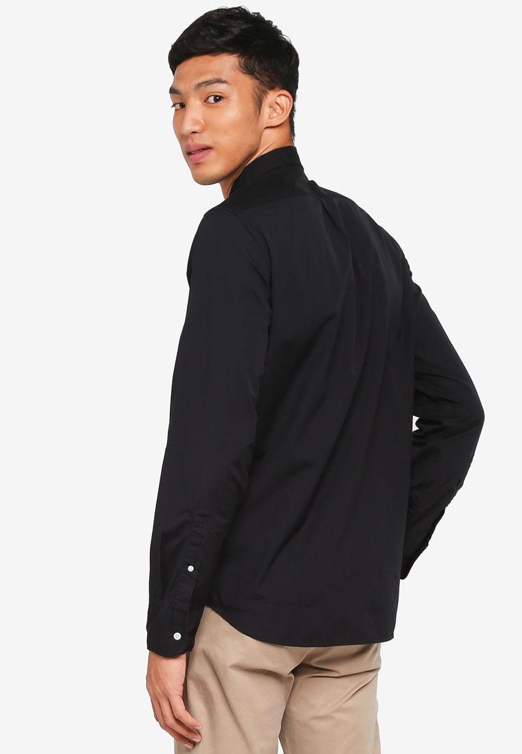 Men's Solid Black Stretch Wash Poplin Secret Slim J Crew r8w5Ir