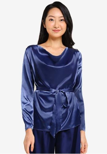 ZALORA BASICS blue Lounge Cowl Neck Long Sleeve Top 6D753AA10D93D4GS_1