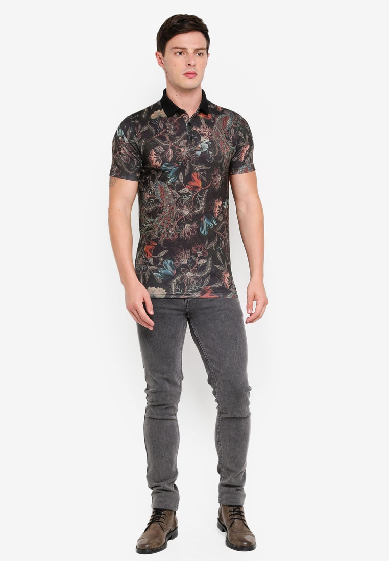 Muscle Floral Island Shirt River Fit Khaki Polo Print axnqxFST
