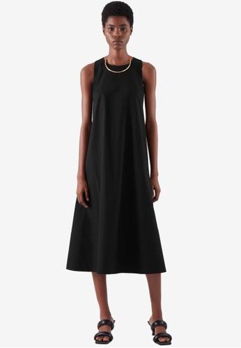 COS black A-Line Midi Dress 7235DAAFAA60E7GS_1