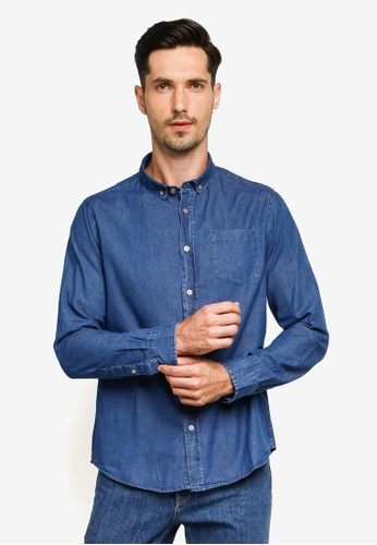 Brave Soul blue Long Sleeved Denim Shirt 8E74CAA0F8B177GS_1