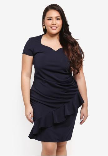 Goddiva navy Plus Size Diagonal Frill Midi Dress DD002AA041E56FGS_1