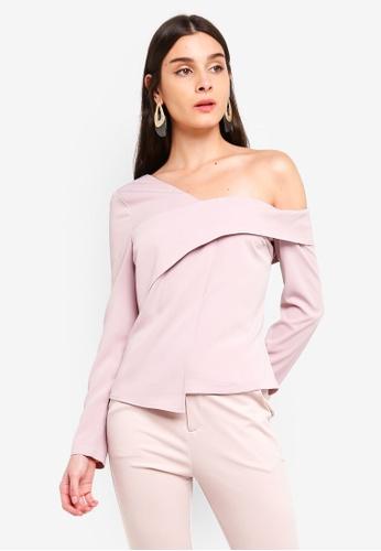 Lavish Alice pink One Shoulder Layered Top 073E7AA3F18FA0GS_1