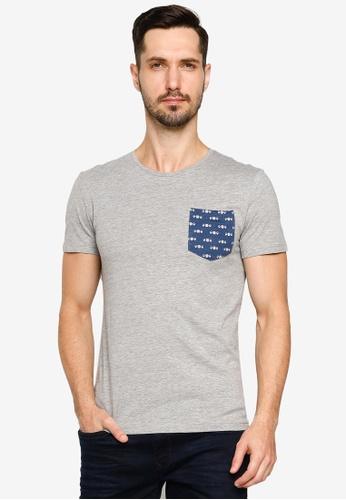 BLEND grey Printed Pocket Crew Neck T-Shirt 3FD3DAA0E767F9GS_1
