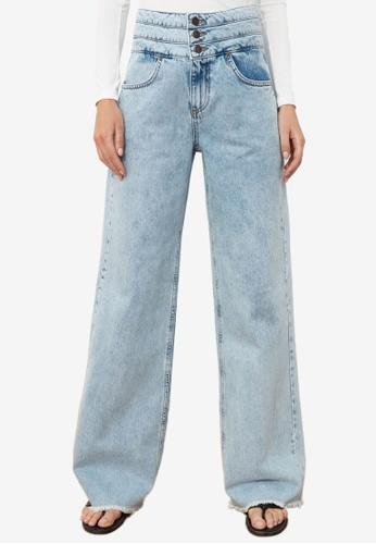 Trendyol blue Front Button High Waist Wide Leg Jeans 66052AAD1647B8GS_1