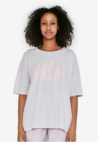 Noisy May purple Ida Short Sleeve Oversize T-Shirt 705C3AA62F85AFGS_1