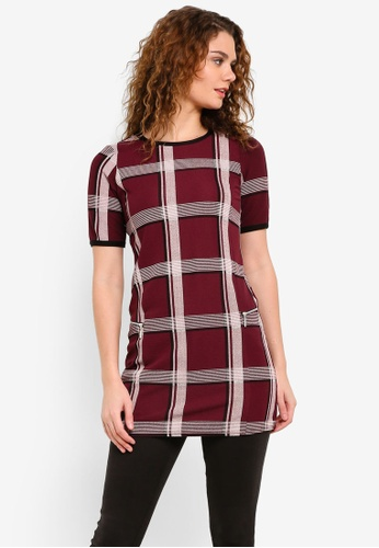 Dorothy Perkins red Wine Checkered Tunic DO816AA0RP3XMY_1