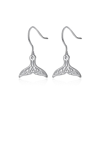 Glamorousky silver 925 Sterling Silver Fashion Simple Mermaid Tail Earrings 20628ACBB0E06FGS_1