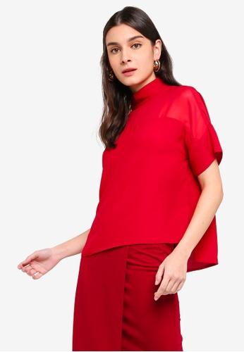 ZALORA 紅色 高領上衣 A2E09AACB47E05GS_1
