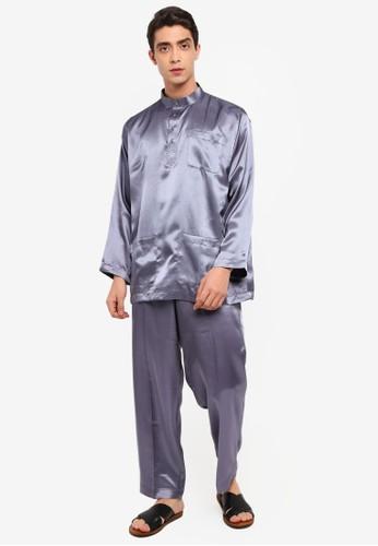 Gene Martino grey Tradisional Baju Melayu C5504AA58E960AGS_1