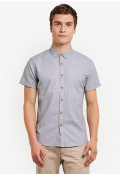【ZALORA】 Stripe 短袖襯衫
