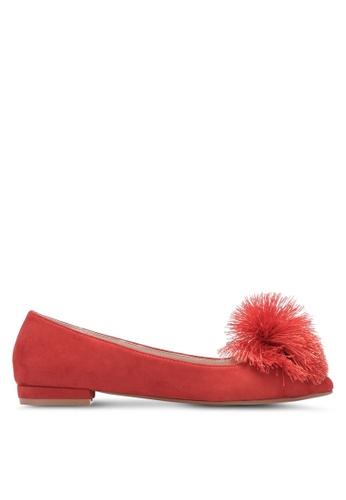 ZALORA red Pom Pom Microfiber Ballerina Flats 0490DSH6A9089BGS_1