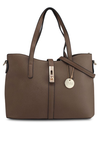 Perllini&Mel brown Faux Leather Double Handle Bag B6646AC19B7E4EGS_1