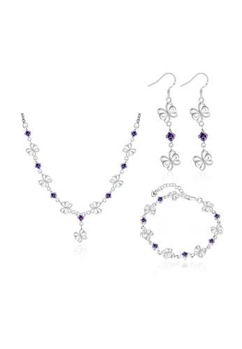 Treasure by B & D gold S151 Korean Butterfly Necklace, Bracelet and Earrings Jewellery Set TR022AC56ZJNPH_1