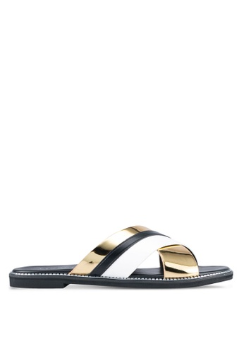 VINCCI black and gold Cross Strap Sandals VI831SH0SY3MMY_1