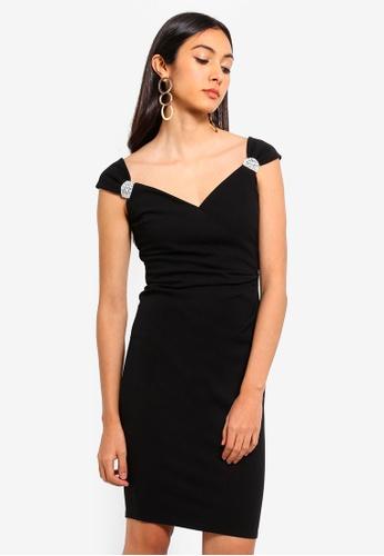 Goddiva black Shoulder Detailed Dress 55E27AA9F9FD05GS_1