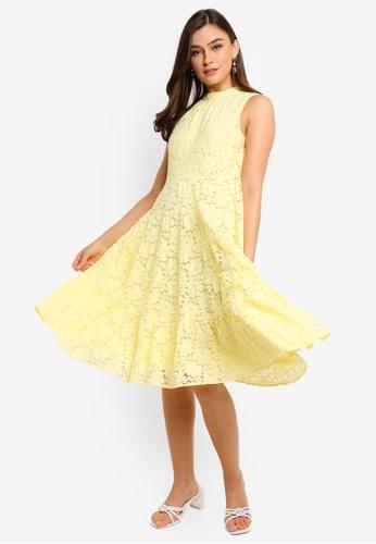 WAREHOUSE yellow Int Lace Tiered Mini Dress B2A95AA8D4D9A7GS_1