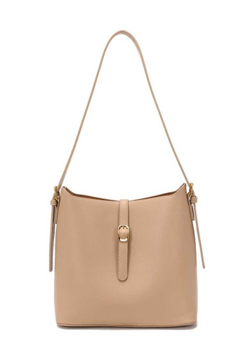 Lara beige Women's Elegant PU Leather Zipper Tote Bag - Dark Beige C242EAC0C407A7GS_1