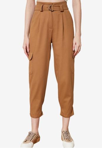 Trendyol 褐色 Buckle Cargo Style 褲 B0A5BAA2663416GS_1