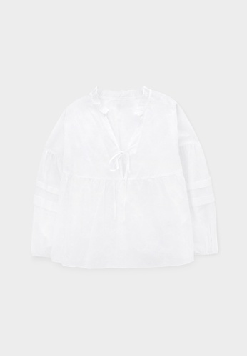 Pomelo white Purpose Sheer Full Sleeves Floral Blouse - White A2E16AA575F0A5GS_1