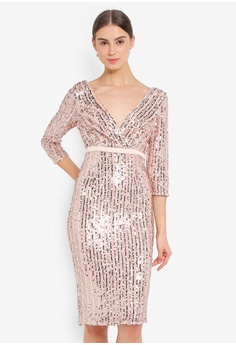 93ef9a95c5 Little Mistress pink and beige Nude Sequin Midi Dress F5E6EAA3ACEC5CGS_1