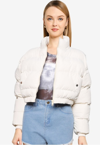 Brave Soul grey Cropped Puffer Jacket B5293AAA9BF705GS_1