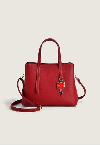 Lara red Business Women's Plain Handbag Shoulder Bag with Cute Cat Charm - Wine Red 8BA7FAC507435BGS_1