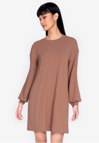ZALORA BASICS brown Rib Sweater Dress BD8D0AA77066F3GS_1