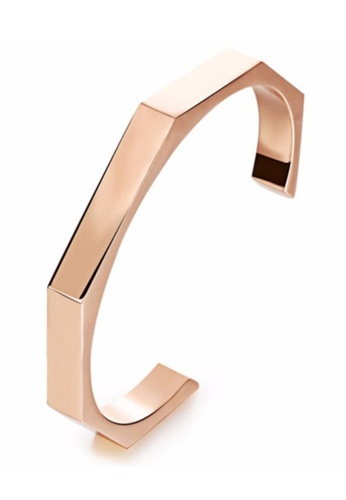 YOUNIQ YOUNIQ Titanium 18K Rosegold Steel Simple Octagon Nut Black Cuff Bangle for Women YO999AC0S8RFMY_1