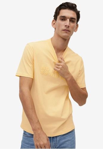 Mango Man yellow Message Organic Cotton T-Shirt AB2A0AAA8606BEGS_1