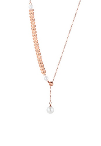 CELOVIS gold CELOVIS - Isis Laurel Leaves with adjustable Pearl Drop Pendant Necklace in Rose Gold 6BB30AC3E2CBB2GS_1