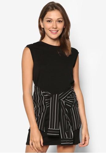 假兩件條紋綁腰zalora時尚購物網評價長版上衣, 服飾, 服飾