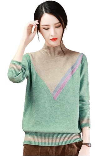 A-IN GIRLS green and beige High Collar Colorblock Sweater BDBB0AADE3B56BGS_1