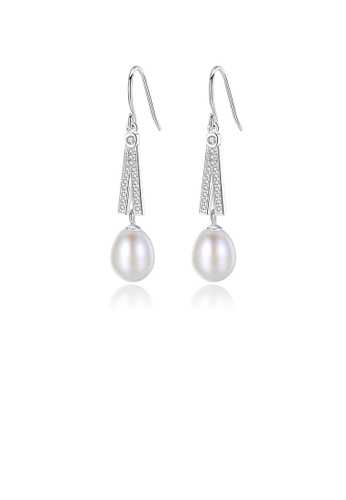 Glamorousky white 925 Sterling Silver Elegant Fashion Geometric White Freshwater Pearl Earrings with Cubic Zirconia 42D83ACCE9AD4FGS_1