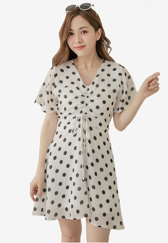 bcebff35ed3 Tokichoi white V-Neck Ruched Front Dress With Polka Dot 2EECCAA12F9EA0GS 1