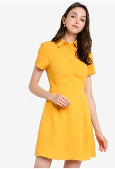 ac40abb10dc3 ZALORA BASICS yellow Basic Pleated Shirt Dress 0A636AA467DD6FGS_1